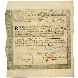 Massachusetts Bay Treasury loan certificate, dated December 1, 1777, in the amount of 135 pounds, 13