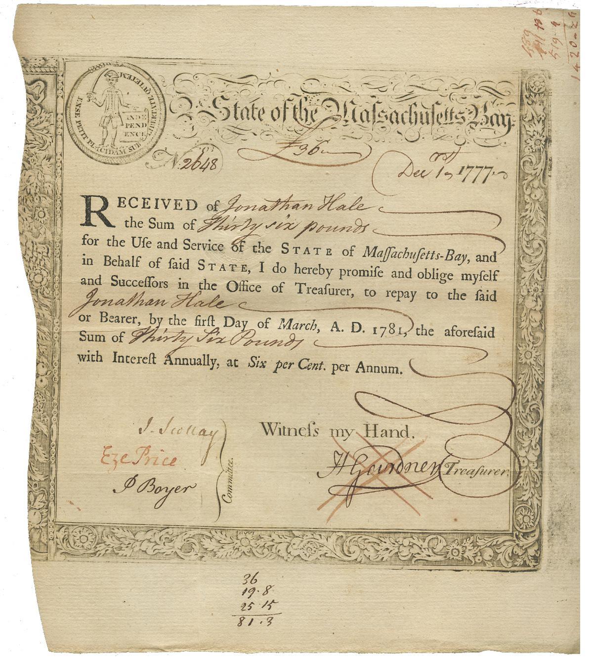 treasury certificate massachusetts 1777 pounds dated loan amount ser bay december