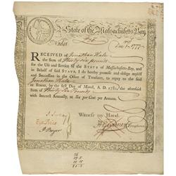 Massachusetts Bay Treasury loan certificate, dated December 1, 1777, in the amount of 36 pounds, ser