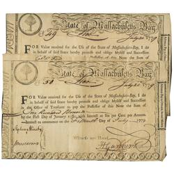 Lot of 2 State of Massachusetts Bay Treasury second moiety lottery certificates, dated July 20, 1779