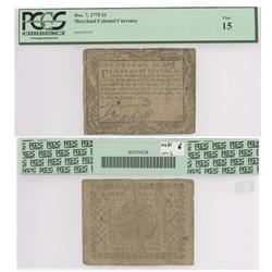 Maryland colonial currency note for $1 dated December 7, 1775, serial #3119, PCGS F-15.