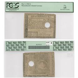 Massachusetts colonial currency note for $4 dated May 5, 1780, hole punch cancelled, PCGS F-15.