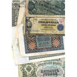 Lot of 10 late-1800s and early-1900s banknotes from around the world, including Germany (100 mark, 1