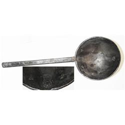 English pewter soup spoon marked with Tudor rose hallmark, 1620s-1640s.