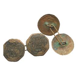 Brass cufflink, Georgian period (1700s), found in Portsmouth harbor, England.