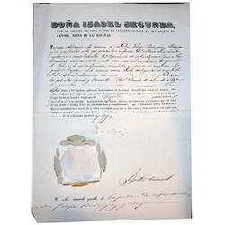 1856 Spanish official document stamped and sealed by Queen Isabel II.