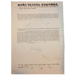 1867 Spanish official document stamped and sealed by Queen Isabel II.