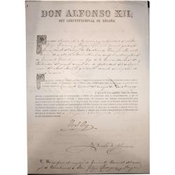 1880 Spanish official document stamped and sealed by King Alfonso XII.
