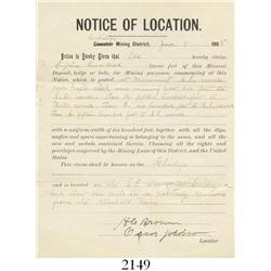"1905 mining claim document (""Notice of Location""), Calistoga, California."