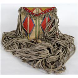 Painted Parfleche Bag with Long Fringe
