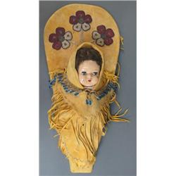 Beaded Hide Cradle Board with Doll
