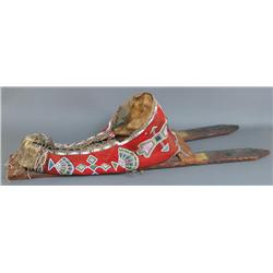 Early Cheyenne Beaded Cloth Cradle Board