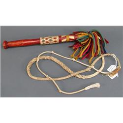Dog Sled Whip with Decorated Handle