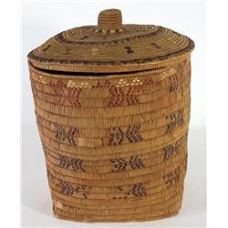 Salish Lidded Basket with Knob Handle