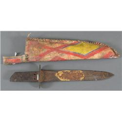 Painted Parfleche Sheath with Early Knife