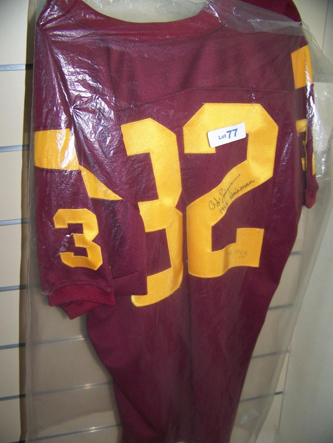 newest 83d39 9d777 O.J. Simpson Signed USC Football Jersey.
