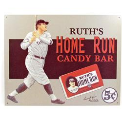1079 - BABE RUTH'S HOME RUN CANDY BAR METAL ADVERTISING SIGN - 12.5 X 16