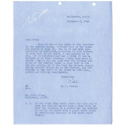 Archive of W. C. Fields contracts, typed letters signed and other correspondence 1932-1944