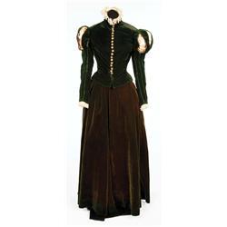 "Katharine Hepburn ""Mary Stuart"" dark green period dress by Walter Plunkett from Mary of Scotland"
