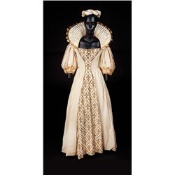 "Angela Lansbury ""Queen Anne"" ecru cotton two-piece period dress from The Three Musketeers"