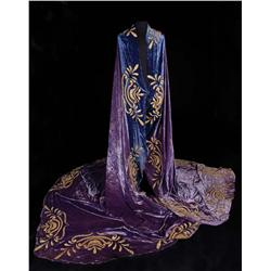 "Peter Ustinov ""Nero"" taupe silk robe and monumental purple velvet mantle from Quo Vadis"