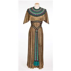 """Blanche Thebom """"Vocalist – Opera Montage"""" dark gold lamé Egyptian dress from The Great Caruso"""