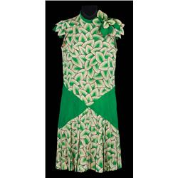 Debbie Reynolds green & white leaf patterned sleeveless dress from Singin' in the Rain