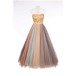 """Susan Hayward """"Jane Froman"""" pastel rainbow-hued ball gown from With a Song in My Heart"""