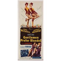 """Gentlemen Prefer Blondes original 14"""" x 36"""" insert poster for Marilyn Monroe film"""