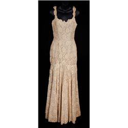 """Lauren Bacall """"Schatze Page"""" embroidered lace wedding gown from How to Marry a Millionaire"""