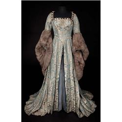 """Deborah Kerr """"Catherine Parr"""" blue and gray damask period gown with fur trim from Young Bess"""