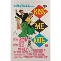 Kiss Me Kate original 1953 U.S. one-sheet poster signed by two lead performers