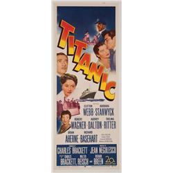 "Titanic 1953 original 14"" x 36"" insert poster"