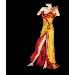 """Marilyn Monroe """"Kay Weston"""" gold charmeuse saloon-girl gown by Travilla for River of No Return"""