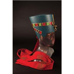 """Anitra Stevens """"Queen Nefertiti"""" royal """"helmet"""" crown and scepters from The Egyptian"""