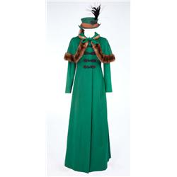 """Jean Simmons """"Desirée Clary"""" green felt coat with mink-trimmed capelet and matching hat from Desirée"""