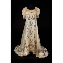 Pair of ivory satin Coronation gowns with gold embroidered bees and olive branches from Desirée