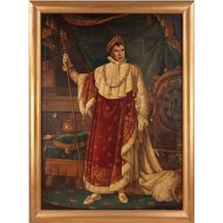 Monumental oil painting of Marlon Brando as Napoleon, Emperor of France, for Desirée publicity
