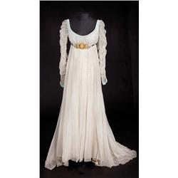 "Merle Oberon ""Josephine de Beauharnais"" light gray organdy over silver lamé gown from Desirée"