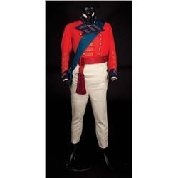 "Peter Ustinov ""King George IV"" red military tailcoat, pantaloons, sash, & ribbon from Beau Brummell"