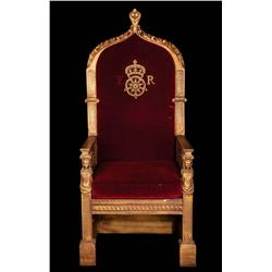 """The Virgin Queen monumental royal dining table """"throne"""" of elaborately carved wood and velvet"""