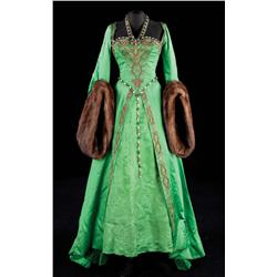 Lana Turner green satin gown with gold embroidered bodice & overskirt, mink fur cuffs from Diane