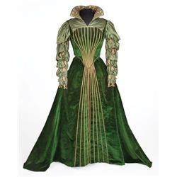 Marisa Pavan green velvet and satin period court gown by Walter Plunkett from Diane