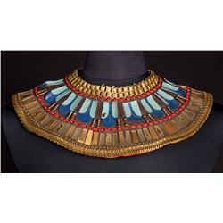 "Vincent Price ""Baka"" gold metal and hand-painted leather collar necklace from The Ten Commandments"