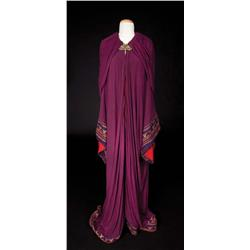 "Nina Foch ""Bithiah"" wine crepe cape with gold bullion from The Ten Commandments"