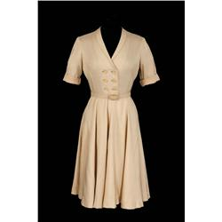 "Lana Turner ""Constance MacKenzie"" tan linen dress from Peyton Place"