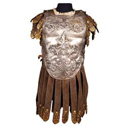 "Duncan Lamont ""Marius"" interlocking torso armor of hand-hammered metal and black suede from Ben-Hur"