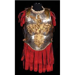 Royal Guard interlocking torso armor of hand-hammered metal and crimson suede from Ben-Hur