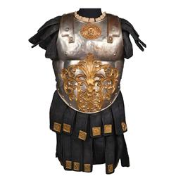 Interlocking torso armor of hand-hammered metal and navy suede from Ben-Hur