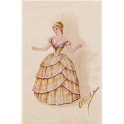 Walter Plunkett costume sketch for Debbie Reynolds from How the West Was Won